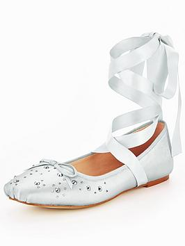 v-by-very-alicia-stud-lace-tie-ballerina-silver