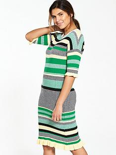v-by-very-crew-neck-stripe-frill-cuff-midi-dress-green-stripe