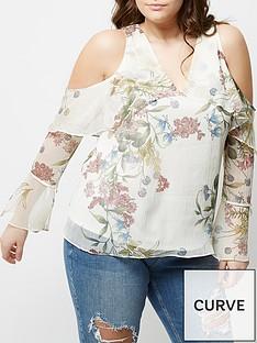 ri-plus-floral-cold-shoulder-frill-top