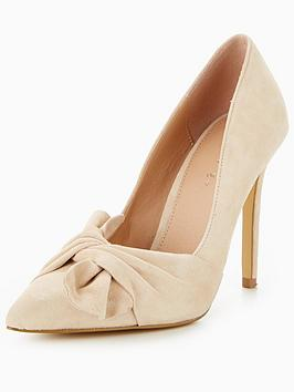 Photo of V by very jaquie real suede knot detail heeled shoe - nude