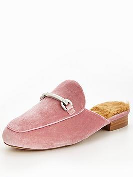 v-by-very-hayley-velvet-faux-fur-trim-backless-loafer-pink