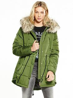replay-faux-fur-trim-padded-parka
