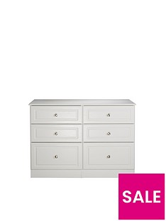 SWIFT Columbia Ready Assembled 3 + 3 Drawer Chest