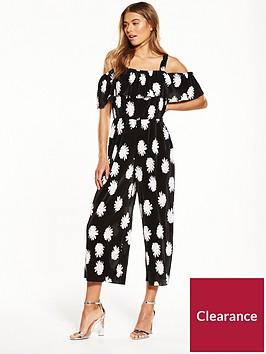 warehouse-flower-stamp-cold-shoulder-plisse-jumpsuit