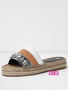 river-island-river-island-flat-3-strap-embellished-espadrille-slider-sandal