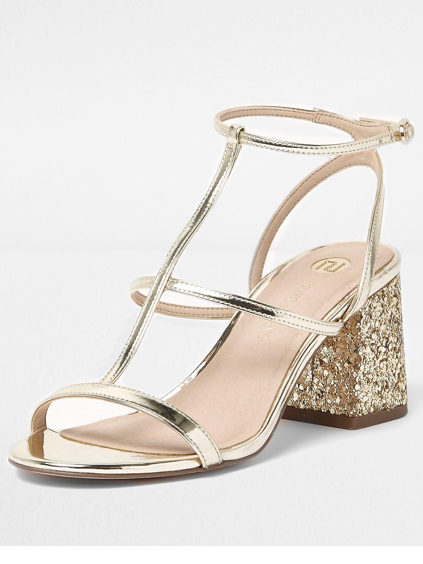 River Island River Island Block Heel Sandal With Glitter Heel
