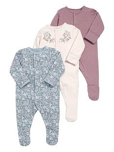 mamas-papas-baby-girls-3-pack-floral-print-sleepsuits