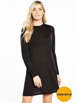 v-by-very-crochet-stitch-detail-knitted-swing-dress-black