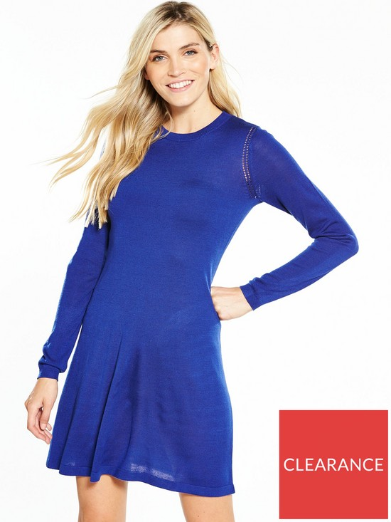ffbc7d027517a V by Very Crochet Stitch Detail Knitted Swing Dress | very.co.uk