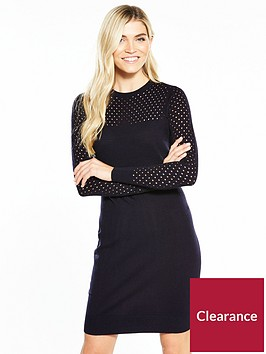 v-by-very-mesh-sleeve-and-yoke-detail-knitted-dress-navy