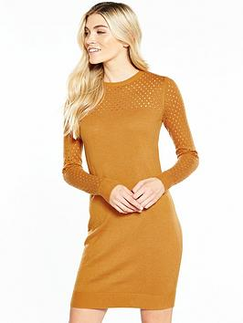 v-by-very-mesh-sleeve-and-yoke-detail-knitted-dress-spice