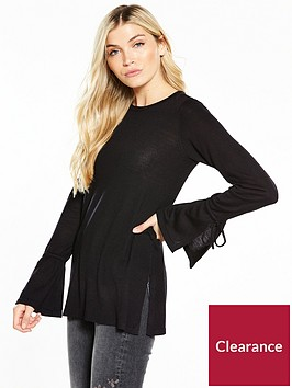 v-by-very-tie-cuff-split-side-tunic-jumper