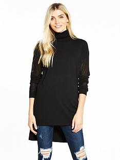 v-by-very-roll-neck-mesh-sleeve-jumper-black