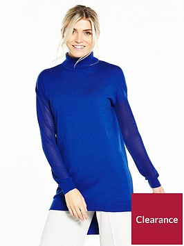 v-by-very-roll-neck-mesh-sleeve-jumper-vibrant-blue