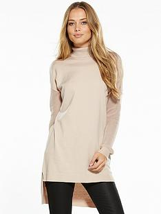 v-by-very-roll-neck-mesh-sleeve-jumper