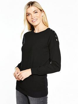 v-by-very-eyelet-lace-up-shoulder-jumper-black