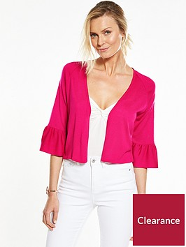 v-by-very-frill-sleeve-short-cardigan-bright-pinknbsp