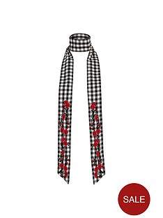 river-island-river-island-gingham-embroidered-skinny-scarf