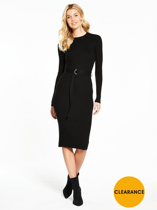 Very Skinny Rib D-ring Belted Knitted Midi Dress - , Women