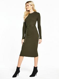 v-by-very-skinny-rib-d-ring-belted-knitted-midi-dress-khaki