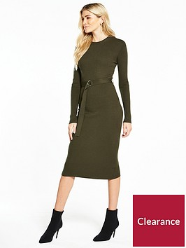 v-by-very-skinny-rib-d-ring-belted-knitted-midi-dress-khaki