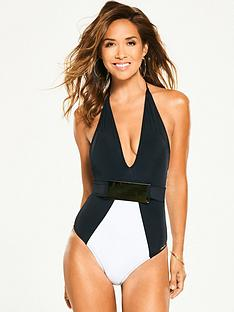 myleene-klass-belted-mono-plunge-swimsuit