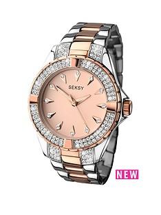 seksy-seksy-rose-tone-dial-two-tone-bracelet-ladies-watch