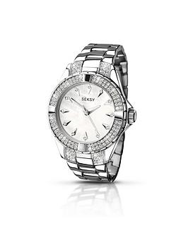 seksy-silver-tone-dial-stainless-steel-bracelet-ladies-watch
