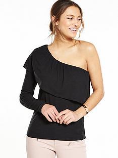 vila-one-shoulder-frill-top-black