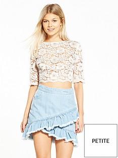 miss-selfridge-petite-lace-crop-top