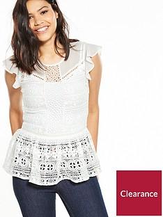miss-selfridge-lace-peplum-shell-top