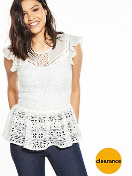 miss-selfridge-lace-peplum-shell-top