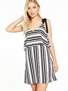 miss-selfridge-tie-shoulder-double-layer-dress-stripesnbsp