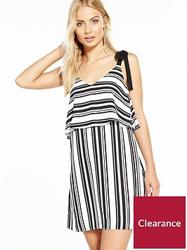 miss-selfridge-tie-shoulder-double-layer-dress-stripesnbsp
