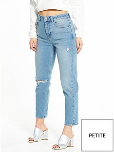 miss-selfridge-petite-ripped-mom-jeans