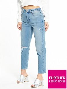 miss-selfridge-petite-ripped-mom-jeans