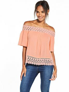 miss-selfridge-lace-trim-bardot-top
