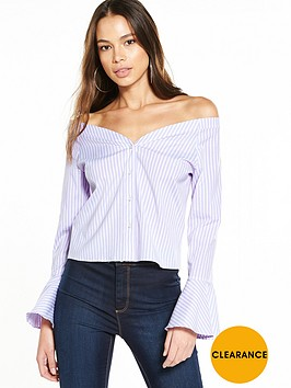 miss-selfridge-stripe-bardot-top-lilacnbsp