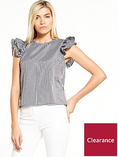 miss-selfridge-gingham-ruffle-sleeve-tee