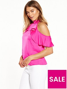 miss-selfridge-ruffle-cold-shoulder-top