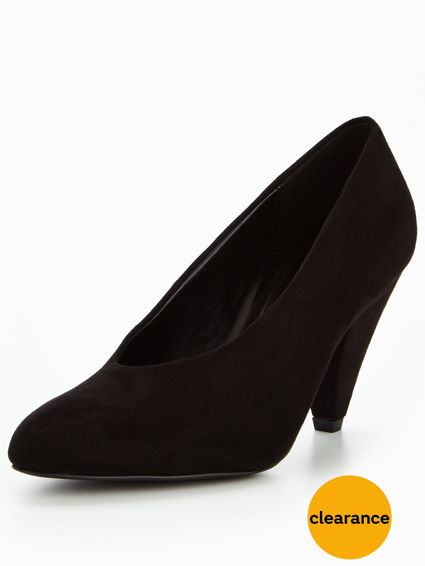V by Very Dolly High Vamp Mid Heel Court Shoe Black 1600166378 Women's Shoes V by Very Heels