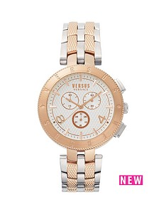 versus versace mens watches gifts jewellery very co uk versus versace versus versace logo white multi dial two tone stainless steel bracelet mens watch