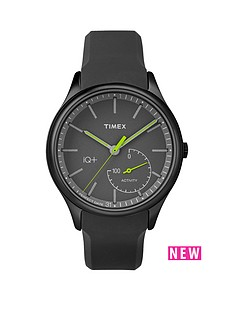 timex-timex-iq-black-dial-green-accents-black-silicone-strap-mens-smart-watch