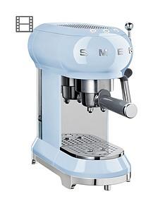 Smeg ECF01 Espresso Coffee Machine - Pastel Blue