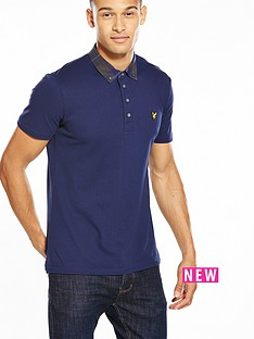 lyle-scott-lyle-amp-scott-check-woven-collar-polo
