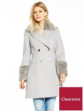 v-by-very-petite-petite-faux-fur-cuff-amp-collar-coat