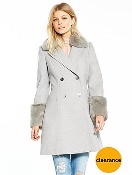 v-by-very-petite-petite-faux-fur-cuff-amp-collar-coat