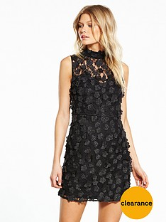 v-by-very-petite-high-neck-3d-flower-dress-black