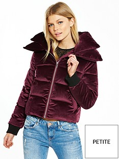 v-by-very-petite-velvet-short-padded-coat