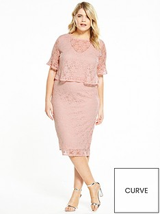 v-by-very-curve-fluted-sleeve-double-layer-lace-dress